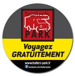 """Autocollant """"Voyagez Gratuitement avec Trailer's PARK"""" Grand Format"""