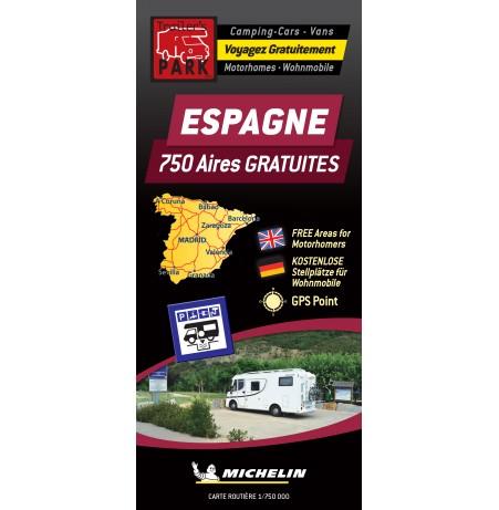 NOUVELLE Carte routière ESPAGNE des Aires de Camping-car GRATUITES