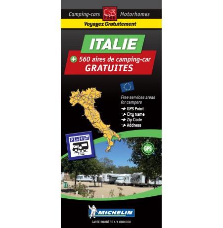 Carte routière ITALIE des Aires de Camping-car GRATUITES
