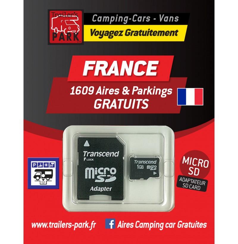 NOUVEAUTÉ ! GPS GARMIN - SD Card FRANCE - 1609 Aires et Parkings GRATUITS