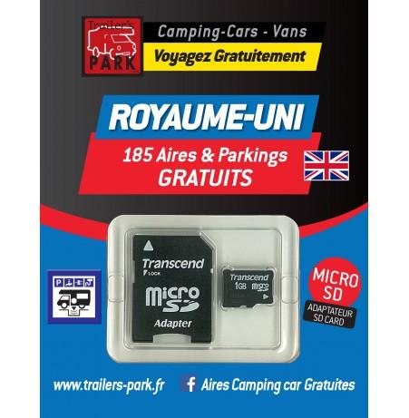 NOUVEAUTÉ ! GPS GARMIN - SD Card ROYAUME-UNI - 185 Aires et Parkings GRATUITS