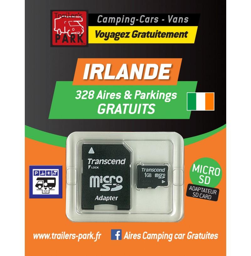 NOUVEAUTÉ ! GPS GARMIN - SD Card IRLANDE - 328 Aires et Parkings GRATUITS