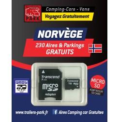 GPS GARMIN - SD Card NORVÈGE - 230 Aires et Parkings GRATUITS