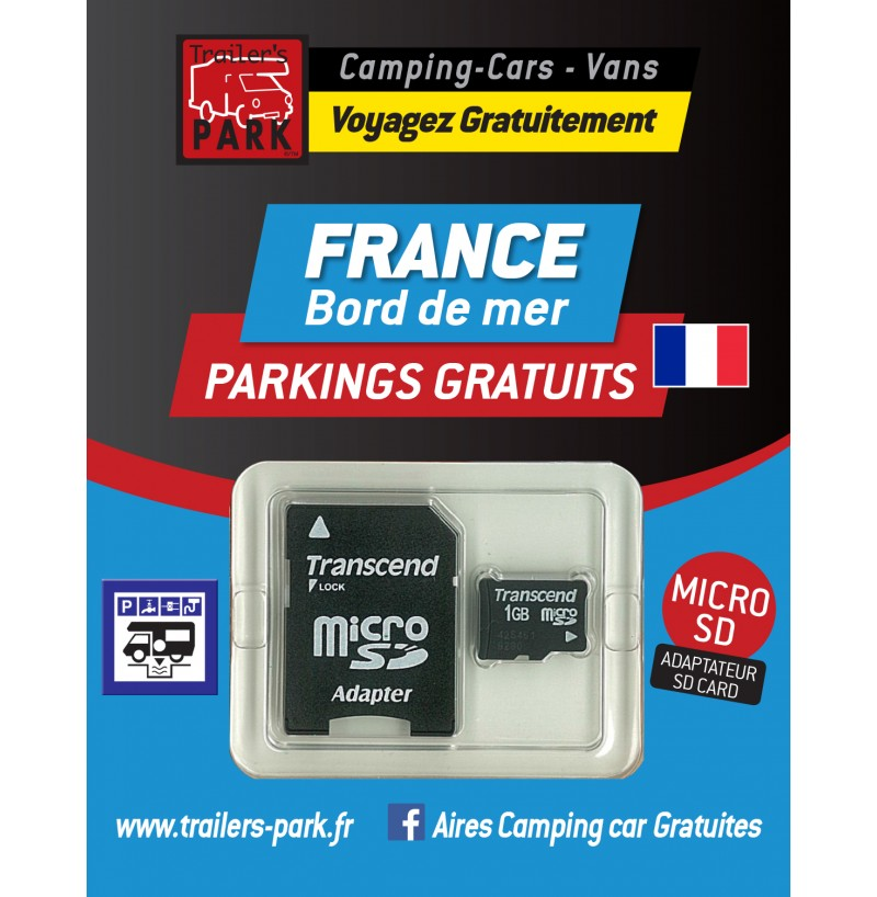GPS GARMIN - SD Card FRANCE Bord de Mer - 400 Parkings GRATUITS