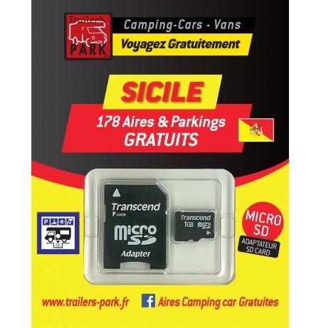 NOUVEAUTÉ ! GPS GARMIN - SD Card SICILE - 178 Aires et Parkings GRATUITS