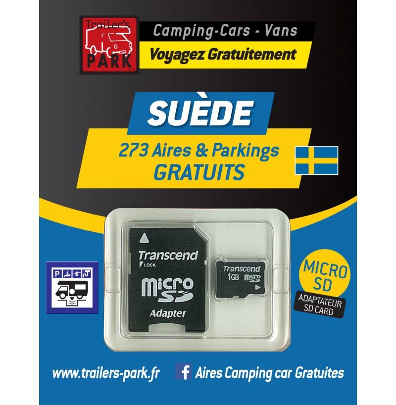NOUVEAUTÉ ! GPS GARMIN - SD Card SUÈDE - 273 Aires et Parkings GRATUITS