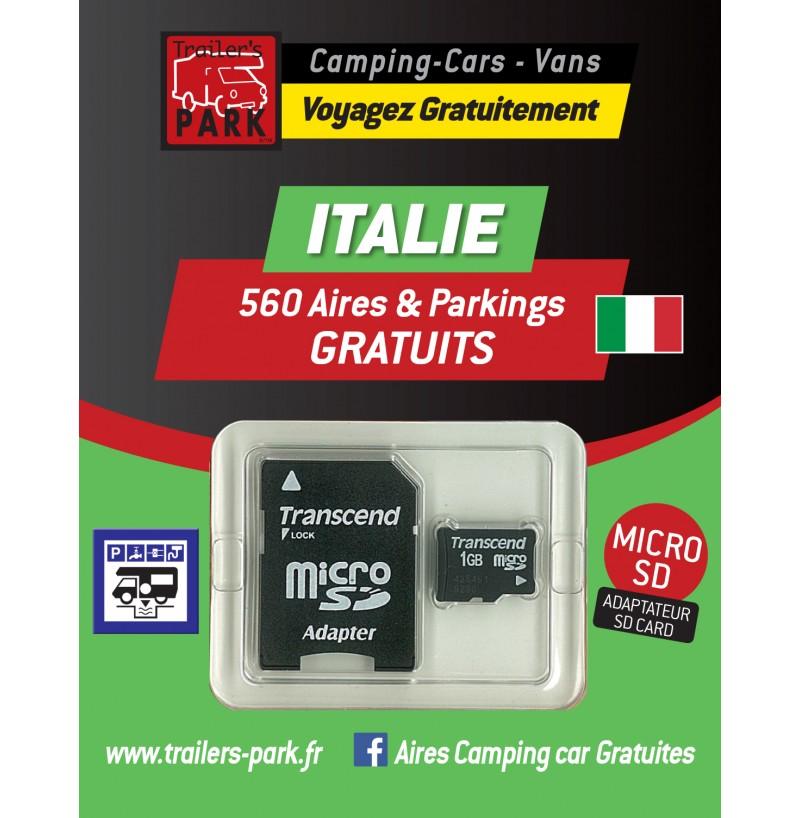 GPS GARMIN - SD Card ITALIE - 560 Aires et Parkings GRATUITS