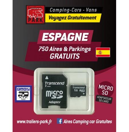 NOUVEAUTÉ ! GPS GARMIN - SD Card ESPAGNE - 750 Aires et Parkings GRATUITS